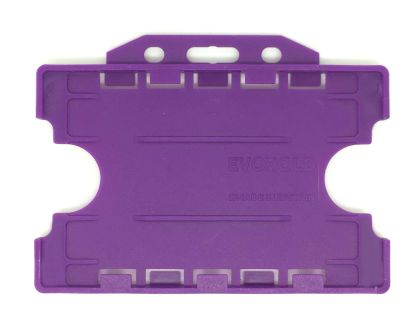 Double / Dual Sided Rigid Plastic ID Holders (Horizontal / Landscape) (Purple)