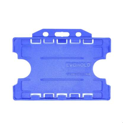 Double / Dual Sided Rigid Plastic ID Holders (Horizontal / Landscape) (Royal Blue)