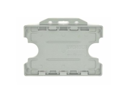 Double / Dual Sided Rigid Plastic ID Holders (Horizontal / Landscape) (Grey)
