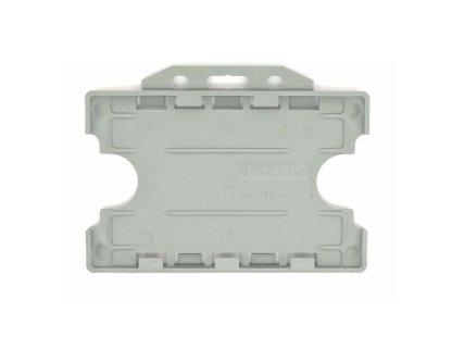 Double / Dual Sided Rigid Plastic ID Holders (Horizontal / Landscape) (Grey)