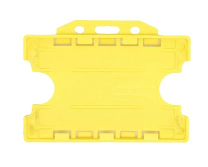 Double / Dual Sided Rigid Plastic ID Holders (Horizontal / Landscape) (Yellow)