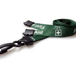 Green First Aid Lanyard with Plastic J Clip