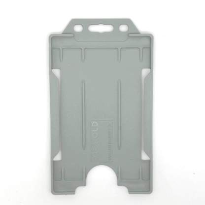 Sided Rigid Plastic ID Holder (Vertical / Portrait) (Grey)