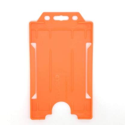 Sided Rigid Plastic ID Holder (Vertical / Portrait) (Orange)