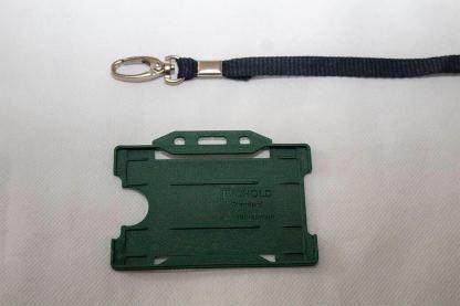 Black 10mm Lanyard with Dark Green Single Sided Card Holder