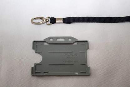 Black 10mm Lanyard with Grey Single Sided Card Holder