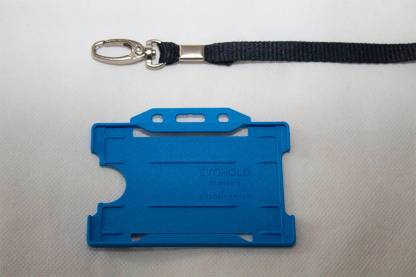 Black 10mm Lanyard with Light Blue Single Sided Card Holder