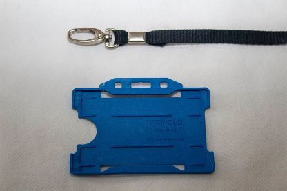 Black 10mm Lanyard with Royal Blue Single Sided Card Holder