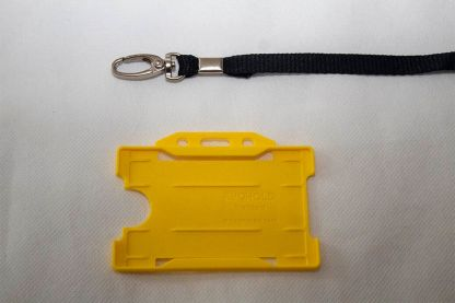 Black 10mm Lanyard with Yellow Single Sided Card Holder