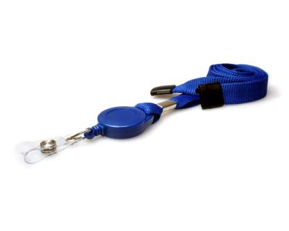Blue Retractable Lanyard with Badge Reel and Safety Breakaway