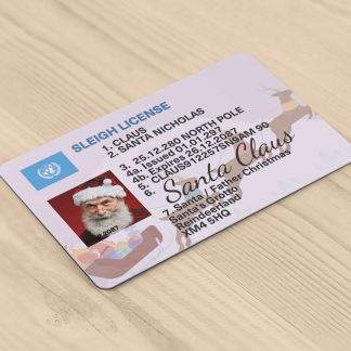 Christmas Novelty Santa Claus ID Card - Sleigh Driving Licence