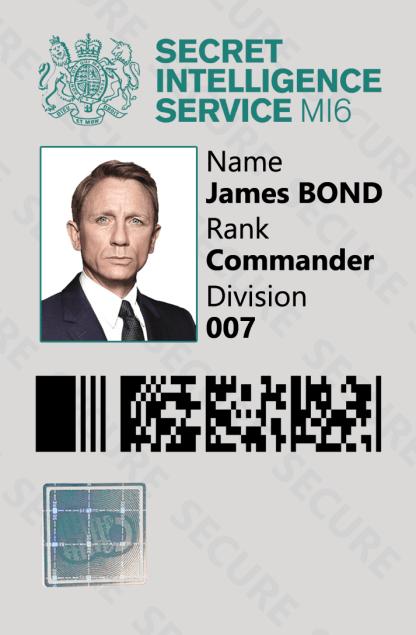 James Bond 007 Spy Novelty ID Card