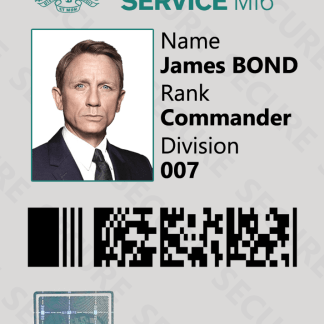 James Bond 007 Spy Novelty ID Card