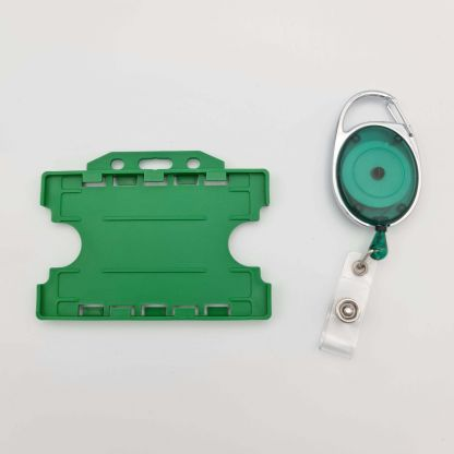 Carabiner ID Badge Reel with Double Sided Landscape ID Holder (Green)