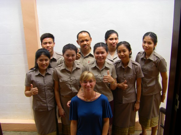 English beginners class and teacher Pauline
