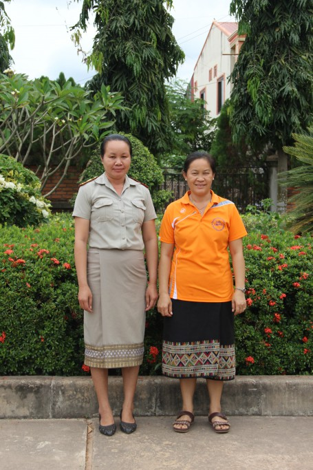 """Souphaphone Vongphachan (Director of Sikeud Primary School), Bouangeun Hanthavong (aka """"Linda"""", AfC Assistant)"""