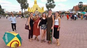 Denise, Silja, Anika, Juliana and Julia visit the That Luang Festival