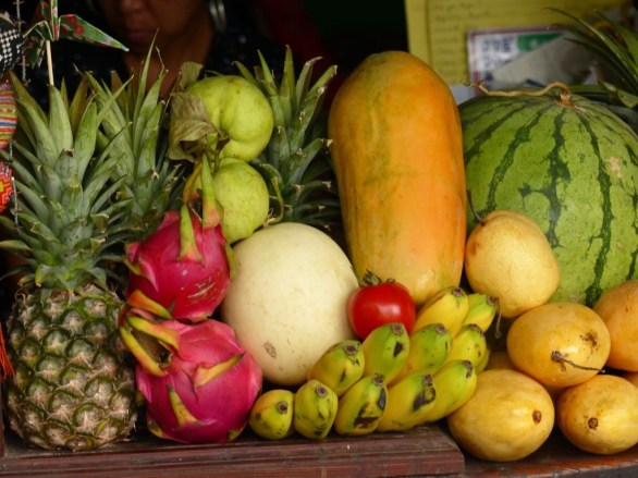Delicious fruits at the market