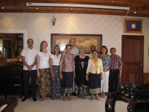 """... and with the first volunteers of the new team (David Schrep, Kerstin Petter, Pauline Kern), and Bouangeun """"Linda"""" Hanthavong"""