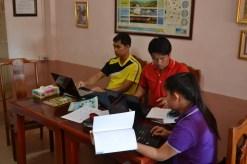 Bounleud Sengsavangvong, Souvanh Navong, Souksakhone Sindavan work on sample lessons
