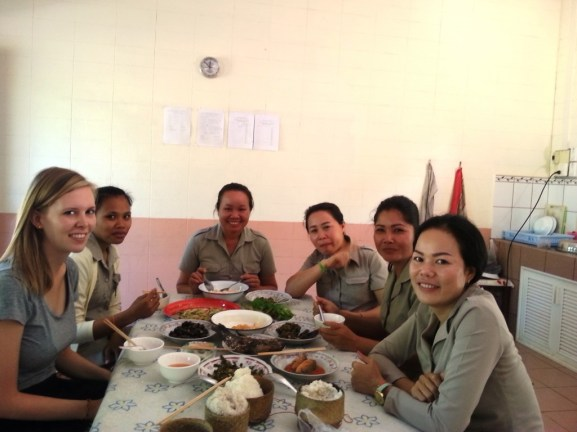 Lunch with other teachers in the staff room at Ban Sikeud Primary School
