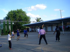 Playing volleyball at Ban Sikeud Secondary School