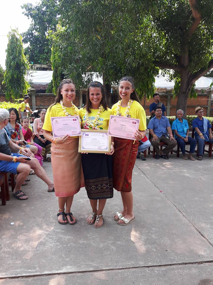 Proud recipients of Lao certificates (Venetia, Jessica, Alyssa)