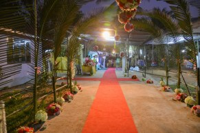 The beautifully decorated wedding venue ...