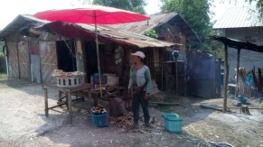 During our ride we saw women selling sticky rice baked in bamboo sticks over an open fire...
