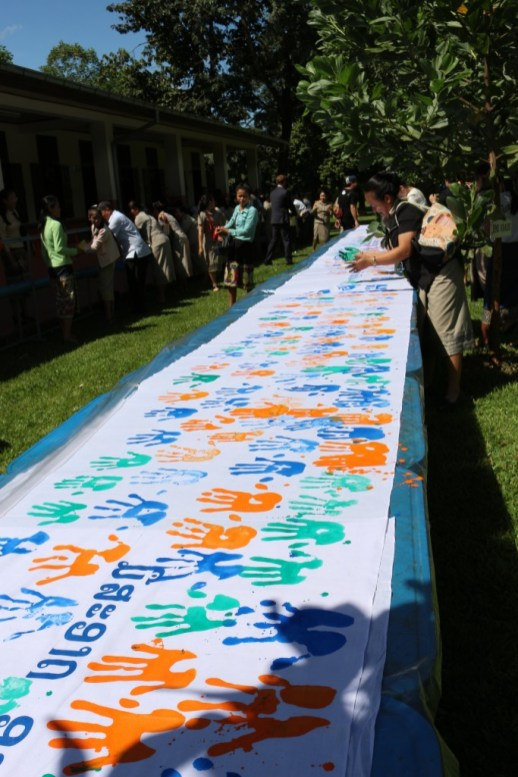 Banner with handprints