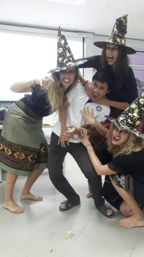 Sandra, Ariane and Nina dressed up as witches with Siphanda