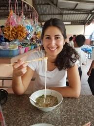 Shirin tries the noodle soup