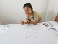 """Daovone - a """"Non-English"""" teacher and not part of the project - joined our workshop because she was interested"""
