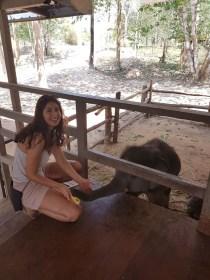 Shirin with a baby elephant