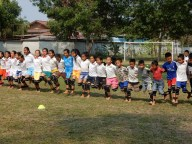 Team work is key at the sports lesson at Ban Sikeud primary school