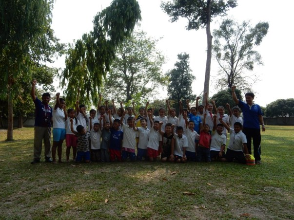 Group picture of the sports class at Ban Sikeud primary school