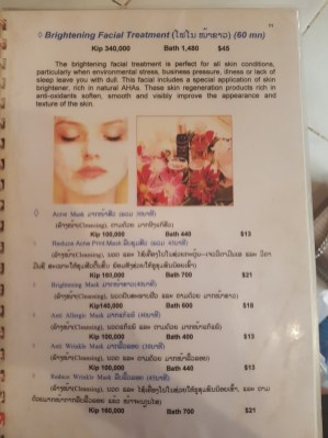 Brightening facial treatment in a spa