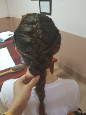 German volunteer with Lao braided hairstyle