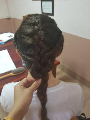 German volunteer with Lao braided hairstyle