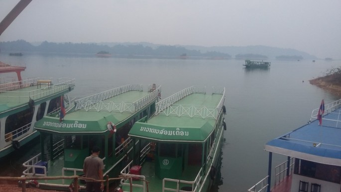 Boats at An Nam Ngum ready to leave for a day-trip