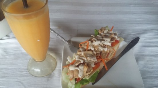 Baguette with Mango Shake