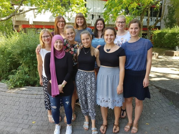 After one of our preparatory sessions in July 2018 (left to right, back to front): Jasmin Unterweger, Marleen Linder, Meike Weis, Anja Schuler, Nicole Wiesa, Dilara Erdogan, Patricia Hopp, Malin Frahm, Pauline Faix & Natalie Wickmann