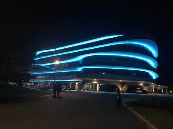 The BHS Corrugated building at night