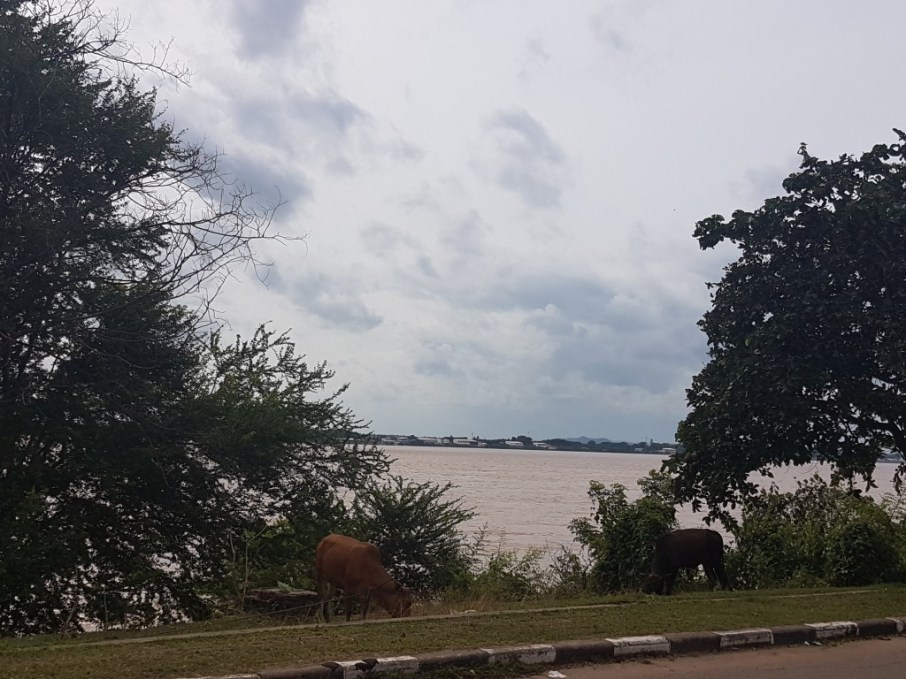 View from Savannakhet over to Moukdahan (Thailand) across the river Mekong