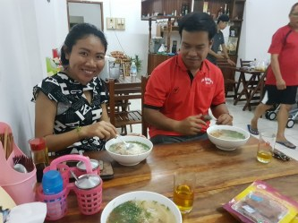 First dinner together with Ms Phetsavanh Somsivilay and Mr Khonesavanh Norasane at a vegetarian Vietnamese restaurant