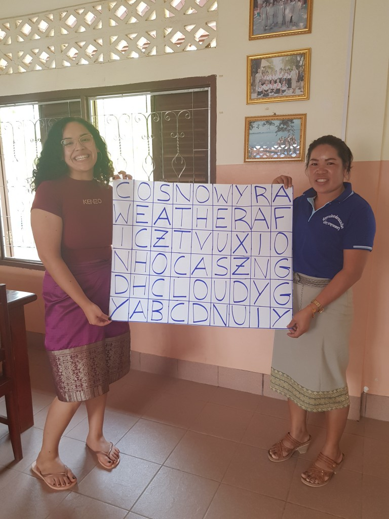 "Ms Bounpheng and ""teacher Elisabeth"" show their crossword puzzle for the next lesson."