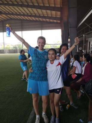 ... and with Ms Moukdala Keomixai at the football match - winners!