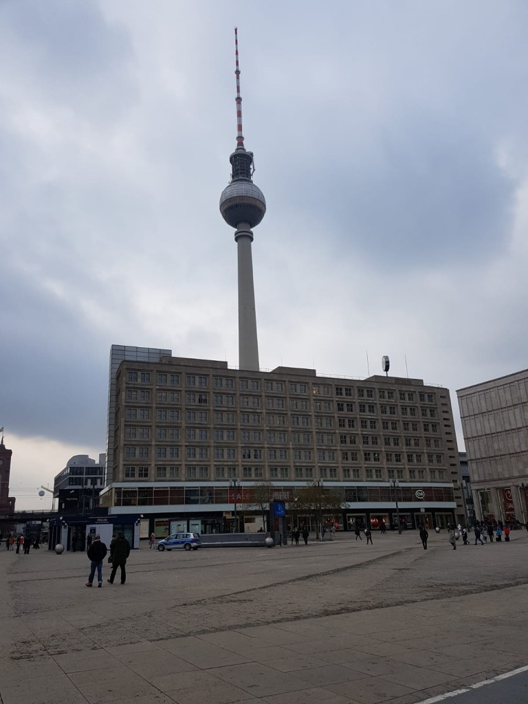 "The ""Alexanderplatz"" - a famous place for shopping and known for its ""Fernsehturm"" (TV tower)"