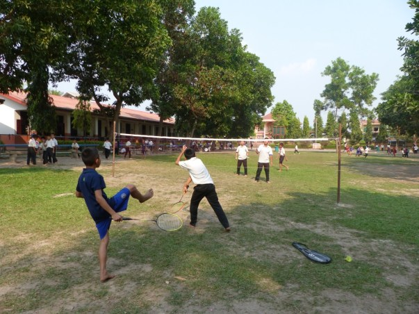 The boys enjoy playing badminton...
