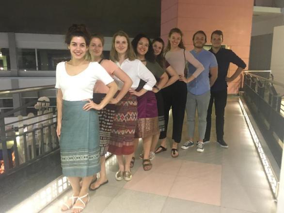 Team VIII at Wattay airport, Vientiane: Mariana Dimtsiou, Rebekka Vogt, Cornelia Proels, Elisabeth Heinz, Vanessa Wecker, Anna-Sophia ten Brink, Thomas Pelka, Siegfried Hadatsch